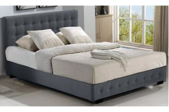 Gas Lift Storage Queen Size Fabric Bed Frame - Dark Grey