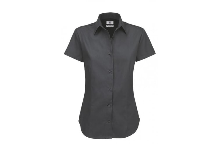 B&C Womens/Ladies Sharp Twill Short Sleeve Shirt (Dark Grey) (XL)