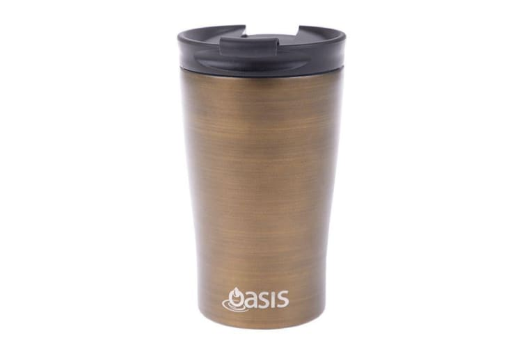Oasis Stainless Steel  Double Wall Insulated Travel Cup 350ml Gold Swirl