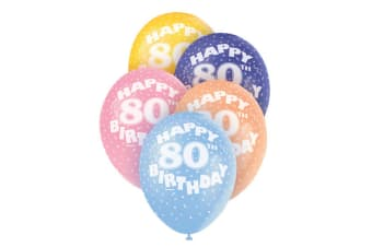 Unique Party 12 Inch 80th Assorted Latex Balloons (Pack Of 5) (Multicoloured)
