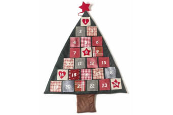 Fabric Christmas Tree Advent Calendar (Green) (One Size)