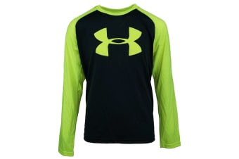 Under Armour Boys' UA Tech Two-Tone Big Logo L/S Shirt (Black/Hi-Vis Yellow, Size L)