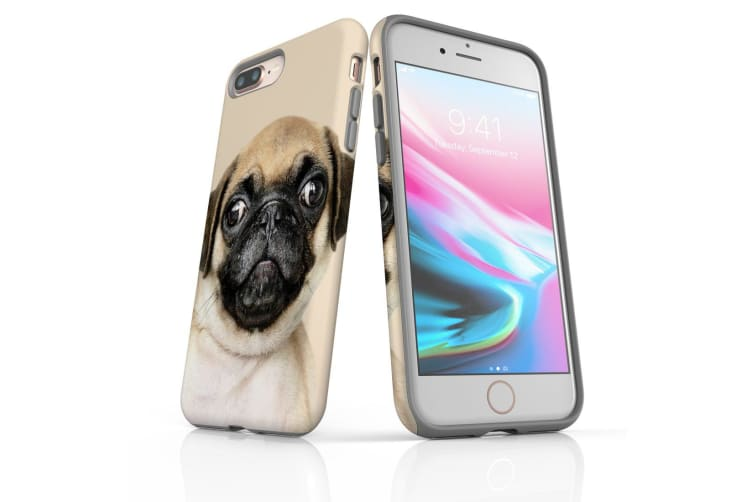 For iPhone 8 Plus Shielding Back Case  Front Up Pug