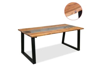 vidaXL Dining Table Solid Acacia Wood and Glass 180x90x75 cm