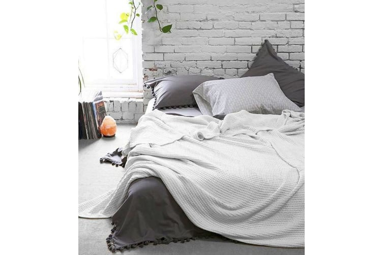 Style & Co 100% Cotton Soft Waffle Blankets Throw Bed Sofa Home Decor 160 x 220 - White