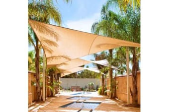 Triangular Sail Shade in Sand 5x5x5m 180GSM