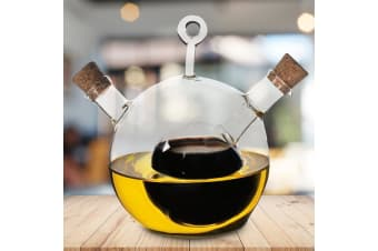 Sophisticated 2-in-1 Oil & Vinegar Ball Bottle With Cork Stoppers
