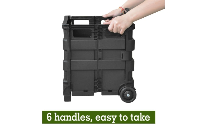 Foldable Shopping Cart Trolley Pack & Roll Folding Grocery Basket Crate Portable