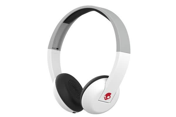 SkullCandy Uproar On-Ear Wireless Headphones - White/Gray/Red - with built-in mic & controls - 10