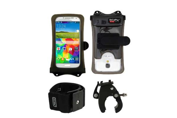 """DiCaPac Action Waterproof Case for up to 5.1"""" Smartphones with Action Clip/Bike Set"""