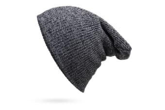 New Unisex Mens Womens Warm Oversized Slouch Beanie Hat Baggy Knit Cap Ski Beret - Dark Grey