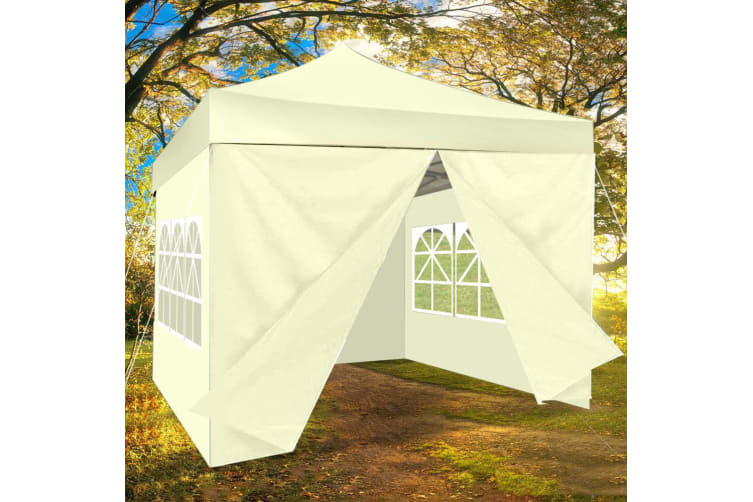 3x3m Pop Up Gazebo Marquee Canopy Folding Tent Outdoor Event Camping & Base Pods  -  Set 1 Beige