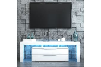 Modern LED TV Stand Cabinet Entertainment Center Unit 160cm w/ 2 Drawers - White