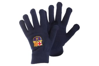 FC Barcelona Mens Official Core Winter Football Crest Gloves (Navy) (One Size)
