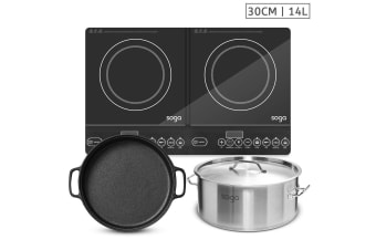 SOGA Dual Burners Cooktop Stove, 30cm Cast Iron Skillet and 14L Stainless Steel Stockpot