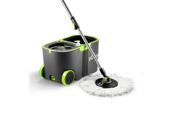 360 Degree Spin Floor Mop Bucket System w/ 4 Extra Microfiber Heads