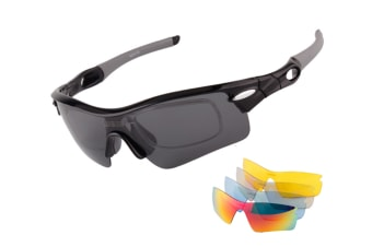 Outdoor Mountain Bike Riding Glasses Windproof Polarizing Glasses 5 Pieces Suit - Black Black 5Pcs