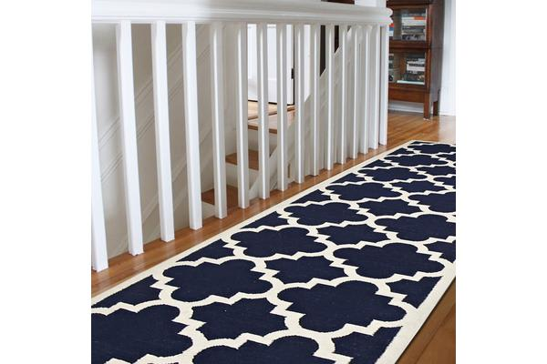 Flat Weave Large Moroccan Design Rug Navy 300x80cm