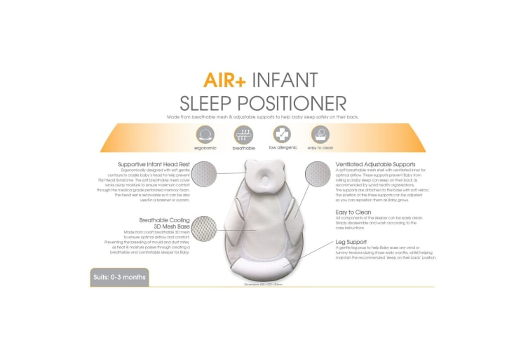 Bubba Blue Air+ Infant Sleep Positioner with Head Rest