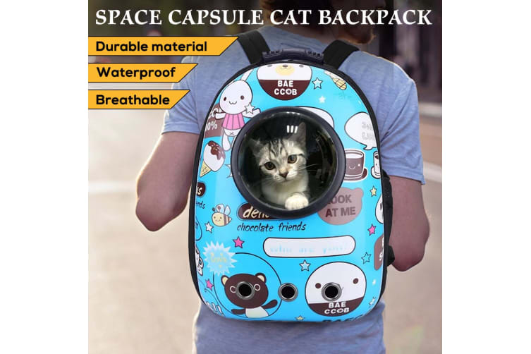 Pet Cat Carrier Bag Backpack Astronaut Space Capsule Puppy Travel Blue