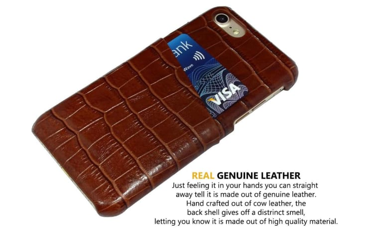 For iPhone 8 7 Case iCoverLover Crocodile Shell Genuine Cow Leather Dark Brown