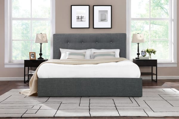 Shangri-La Bed Frame - Portofino Gas Lift Collection (Dark Grey, Double)
