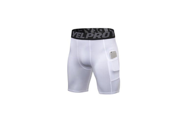 Men'S Compression Shorts Baselayer Cool Dry Sports Tights With Pocket - White White M