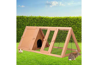 Rabbit Hutch Run Metal Wooden Cage House Chicken Coop  Large