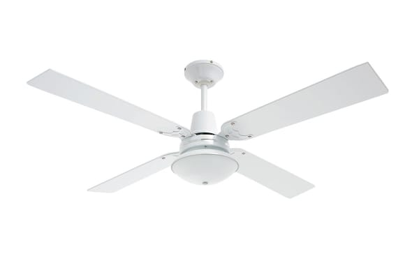 Heller Maxwell 1200Mm Reversible 4 Blade Ceiling Fan with Oyster Light - Cherry Wood/White (MAXWELL)