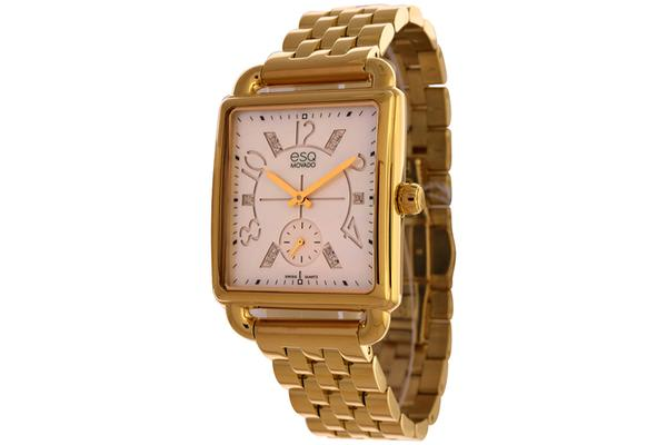 ESQ MOVADO WOMEN'S GOLD PLATED STEEL CASE BRACLET WHITE DIAMOND ACCENTS WATCH 07101415 (7101415)