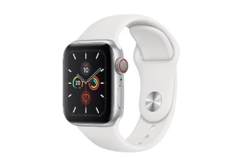 Apple Watch Series 5 (GPS+Cellular) 40mm Silver Aluminum Case White Sport Band