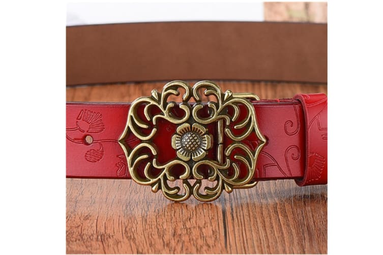 Women'S Leather Belt Carved Ladies Pure Retro Leather Belt Coffee 110Cm