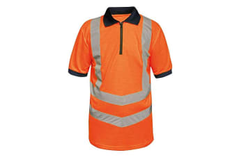 Regatta Mens Hi Vis Pro Reflective Work Polo Shirt (Orange/Navy)