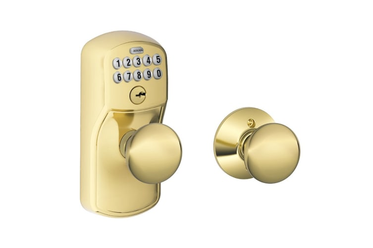 Schlage Keypad Lever with Plymouth Trim and Plymouth Knob with Auto Lock (Bright Brass)