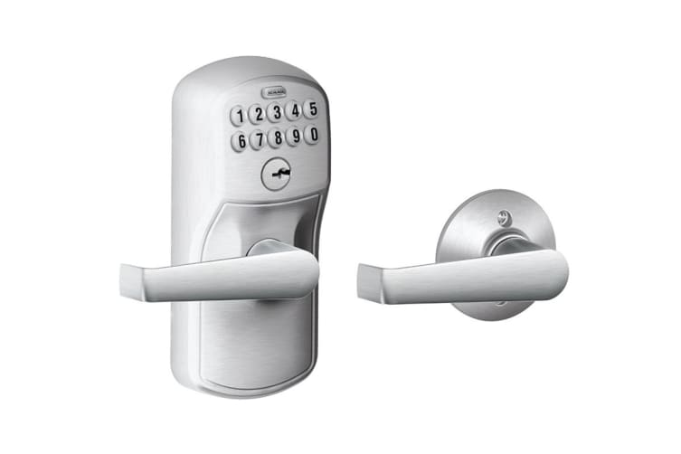 Schlage Keypad Lever with Plymouth Trim and Elan Lever with Auto Lock (Satin Chrome)