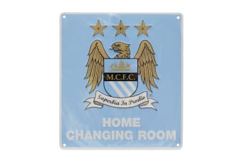 Manchester City FC Official Home Changing Room Metal Bedroom Sign (Sky Blue)