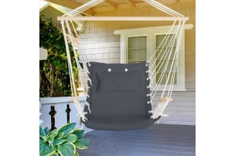 Hanging Hammock Chair Outdoor Camping Rope Portable Swing Grey