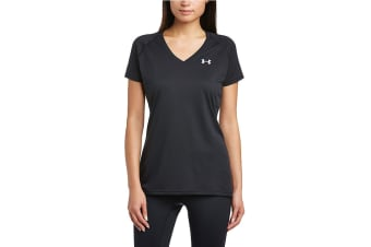 Under Armour Women's UA Tech V-Neck T-Shirt (Graphite/Steel, Size M)