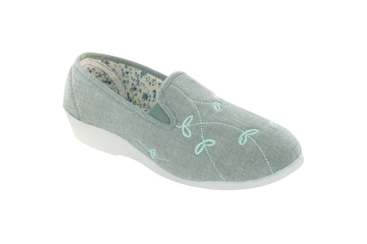 Mirak Bessie Twin Gusset Canvas Slip-on / Womens Shoes (Green) (5 UK)