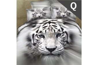 Queen Size White Tiger Design Quilt Cover Set