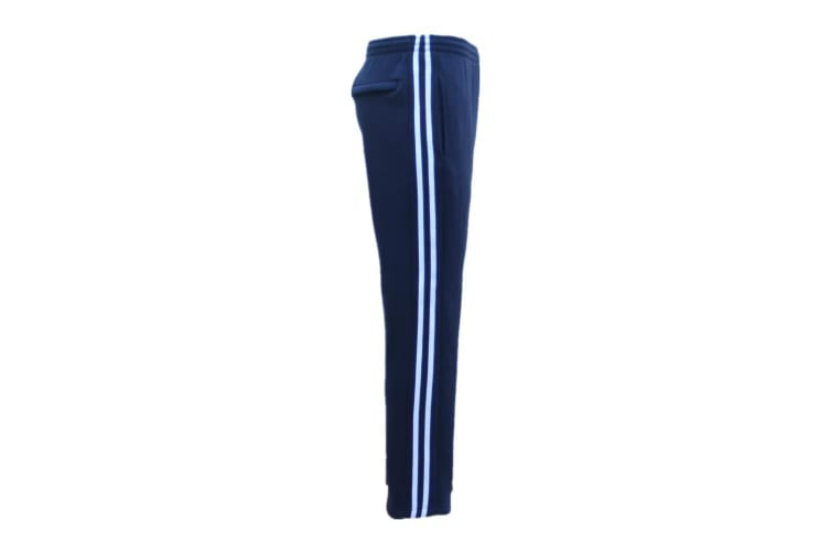 New Men's Fleece Lined Casual Sports Track Suit Striped Sweat Pants Gym Trackies - Navy