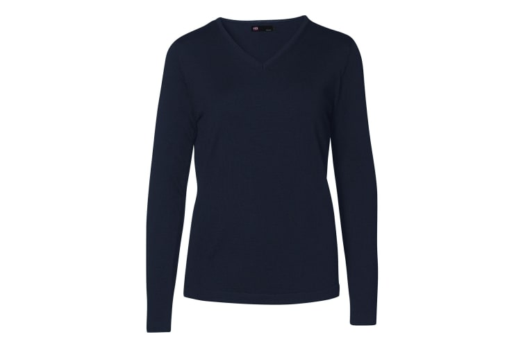 ID Womens/Ladies Fitted Knitted V-Neck Pullover Sweatshirt/Jumper (Navy) (M)