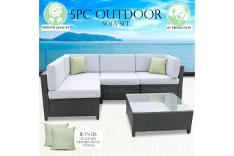 Milano Outdoor 5 PC Rattan Sofa Set