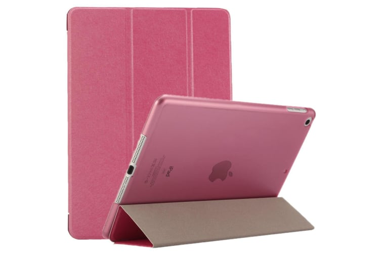 For iPad 2018 2017 9.7in Case Elegant Silk Textured 3-fold PU Leather Cover Magenta