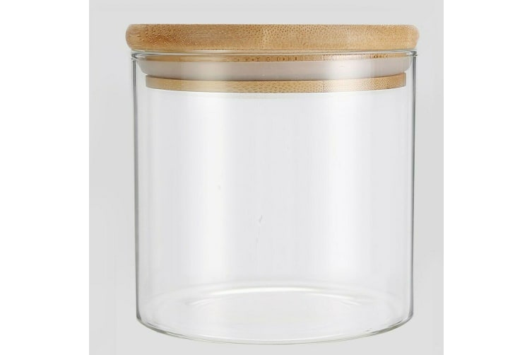 24 x Glass Jar Food Storage Bottles Sealed Cans Bamboo Lid Air Tight Container 345ml