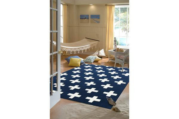 Nordic Crosses Rug Navy 220x150cm