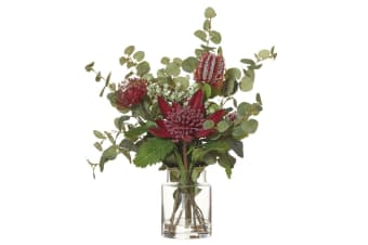 Rouge 50cm Native Waratah Mix Artificial Flowers Decor Indoor Plant w  Glass Jar