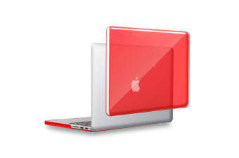 "Hard Case Cover for Apple Macbook Pro 13"" Inch  A1708-Matte Clear-Glossy Red"