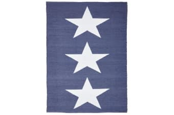 Coastal Indoor Out door Rug Star Navy White 220x150cm