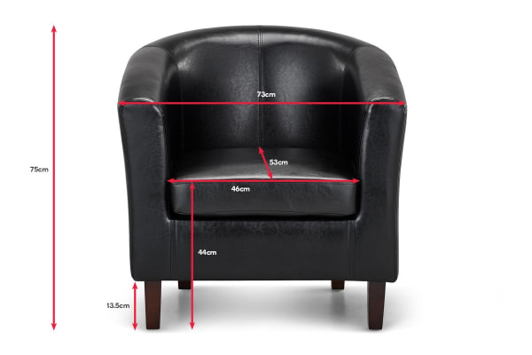 Shangri-La Myrna PU Leather Tub Lounge Chair (Black)